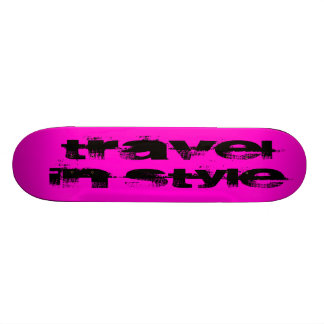 Travel In Style Text-Pink Skate Board