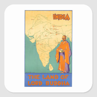 Travel India Land of Lord Buddha Vintage Square Sticker