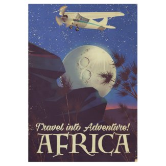 Travel Into Adventure! Africa Wood Poster