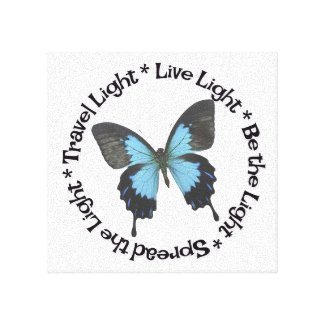 Travel Light Be the Light Live Light Butterfly Canvas Print
