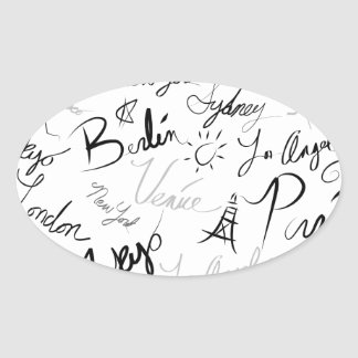 Travel Locations Text Oval Sticker