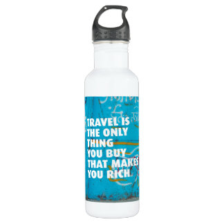 Travel makes you rich quote 24oz water bottle