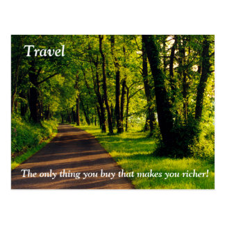 Travel makes you richer postcard
