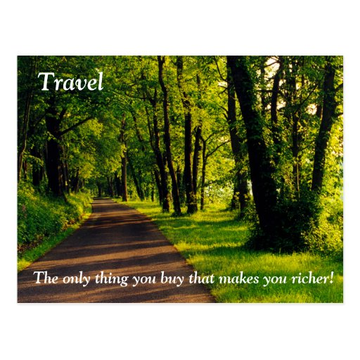 Travel makes you richer post card