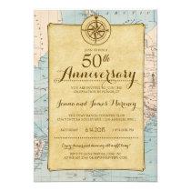 Travel Map 50th Anniversary Invitation