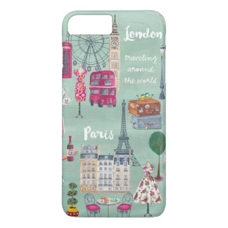 Travel map London Paris | iPhone 7 plus Case