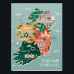 "Travel Map of Ireland | Landmarks &amp; Cities Postcard<br><div class=""desc"">The landmarks and main cities like Dublin and Belfast. 