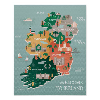 Travel Map of Ireland | Landmarks & Cities Poster