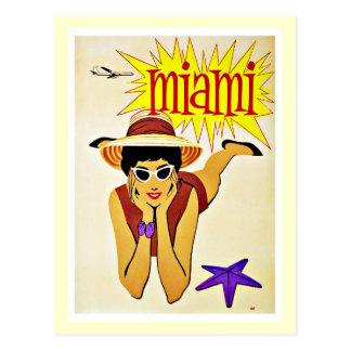 Travel Miami Florida Beach Vintage Postcard