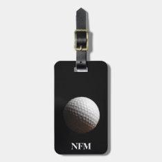 Travel Monogram Sports White Golf Ball On Black Bag Tag at Zazzle