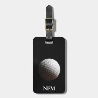 Travel Monogram Sports White Golf Ball on Black Bag Tag