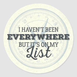 Travel more compass stamp motivational quote classic round sticker