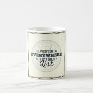 Travel more compass stamp motivational quote coffee mug