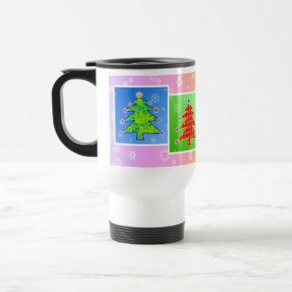 Travel Mug, Cup - Pop Art Christmas Trees