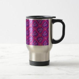 Travel Mug, Heartsand Flowers, Magenta and Mauve Travel Mug