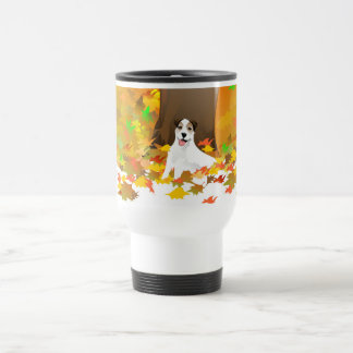 Travel Mug - Jack Russell Dog - Autumn Leaves
