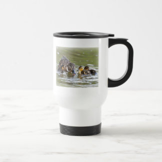 Travel Mug: Mallard Duck and Ducklings 15 Oz Stainless Steel Travel Mug