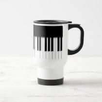 Travel Mug - Piano Keyboard black white