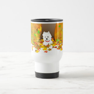 Travel Mug - Westie Dog in Autumn Leaves