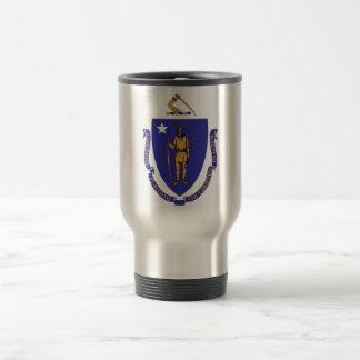 Travel Mug with Flag of  Massachusetts State - USA
