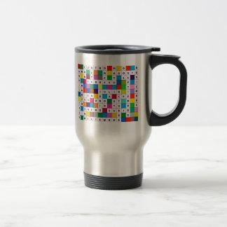 Travel Mug with Spanish Months Crossword Design