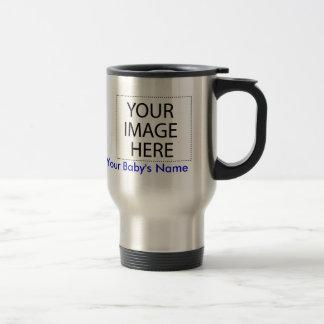 Travel Mug: Your Baby's Photo+Name (blu stainless)