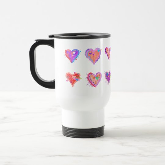Travel Mugs - Pop Art Crazy Hearts 2
