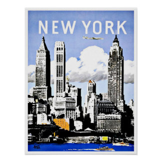 Travel New York America Vintage Poster
