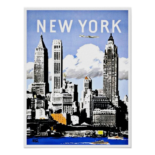 travel new york america vintage poster. Black Bedroom Furniture Sets. Home Design Ideas