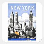 Travel New York America Vintage Square Sticker