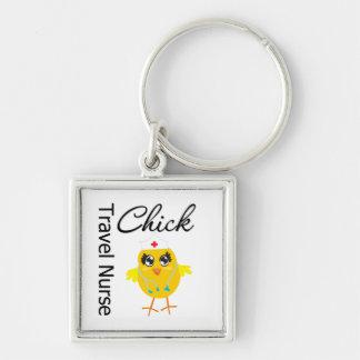 Travel Nurse Chick v1 Silver-Colored Square Keychain
