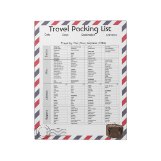 Travel Packing List Notepad