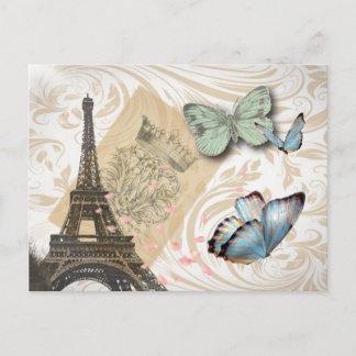 Travel Paris Effiel Tower Wedding save the date Announcement Postcard