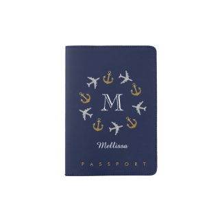 travel passport for a girl with anchors and planes passport holder