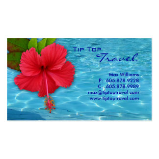 Travel Pool Red Hibiscus Business Card