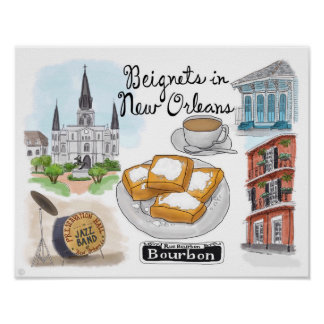 Travel Poster: Beignets in New Orleans Poster