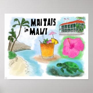 Travel Poster: Mai Tais in Maui, Hawaii
