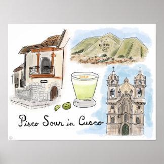 Travel Poster: Pisco Sour in Cusco, Peru