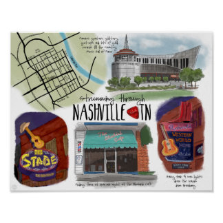 Travel Poster: Strumming through Nashville, TN Poster