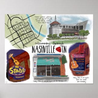 Travel Poster: Strumming through Nashville, TN Poster
