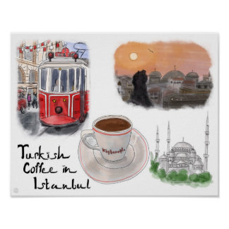 Travel Poster: Turkish Coffee in Istanbul Poster