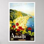 Travel Poster Vintage Amalfi Italy Europe Print