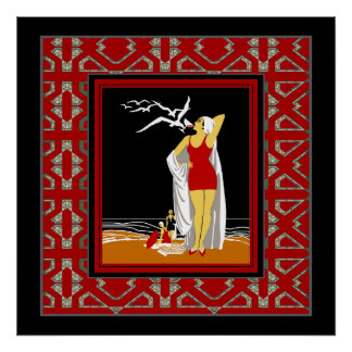 Travel Poster Vintage New York Red Bathers