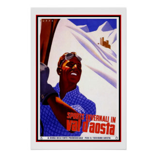Travel Poster Vintage Val d Aosta Italy Skiing