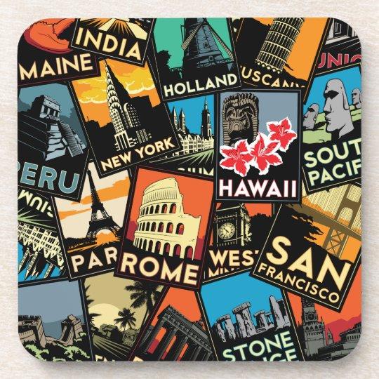 Travel posters retro vintage europe asia usa beverage coaster