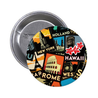 Travel posters retro vintage europe asia usa pinback buttons