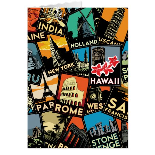 Travel posters retro vintage europe asia usa greeting cards