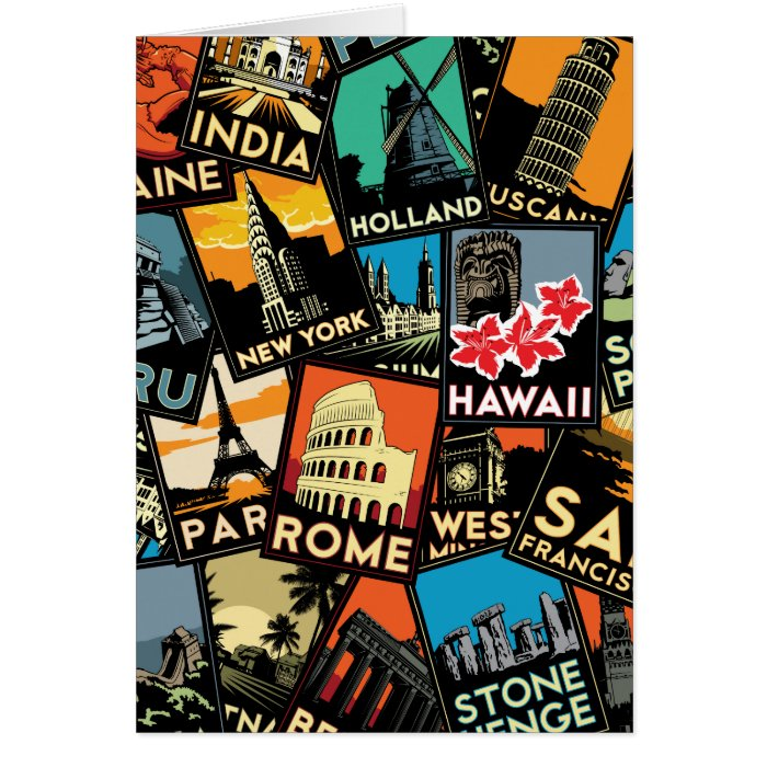 Travel posters retro vintage europe asia usa card