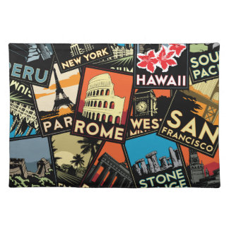 Travel posters retro vintage europe asia usa cloth placemat