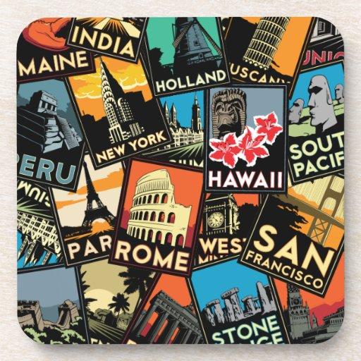 Travel posters retro vintage europe asia usa drink coasters
